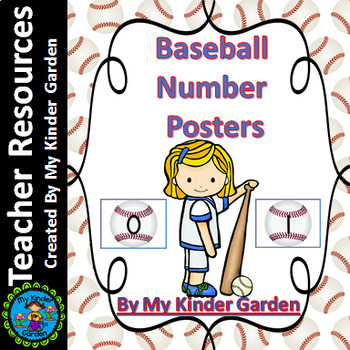Baseball Full Page Math Number Posters 0-100