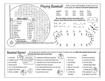 Baseball Fun for Everyone Two-Page Activity Set
