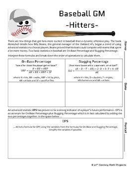 Baseball GM -- Order of Operations and Expressions Project