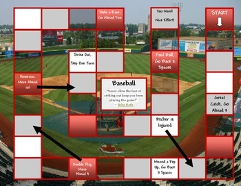 Baseball Game Board Template