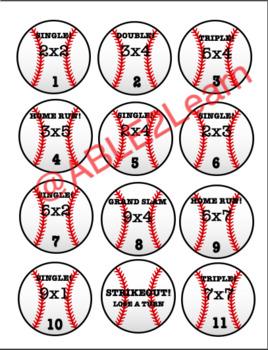 Baseball Game Cards- Single-Digit Multiplication