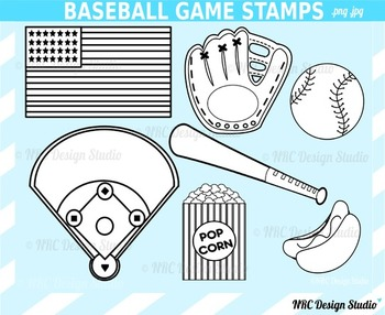 Baseball Game Digital Stamp Clip Art