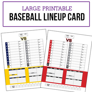 Baseball Game Lineup Cards Large Poster Size Not
