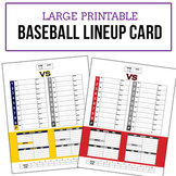 Baseball Game Lineup Cards - Large Poster Size