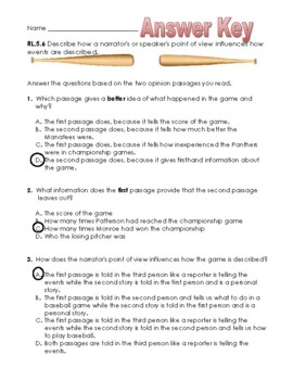 Baseball Game Point of View Reading Passage with Questions