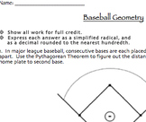 Baseball Geometry Assessment (Midpoint & Distance Formulas, Pythagorean Theorem)