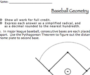 Baseball Geometry Assessment (Midpoint & Distance Formulas, Pythagorean Theorem)