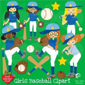 Baseball Clipart, Baseball Girls {Best Teacher Tools}, AMB-228
