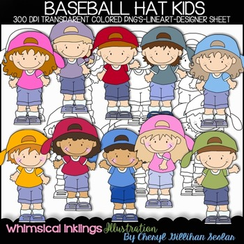 Baseball Hat Kids Clipart Collection