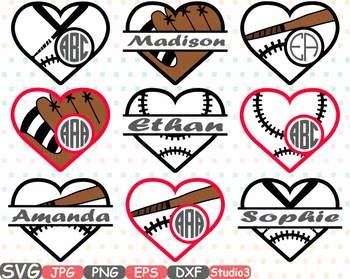 Baseball Heart Split Circle clipart frame love Ball sports School Spirit -702s