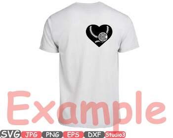 Baseball Heart Split Circle clipart frame love Ball sports School Spirit -703s