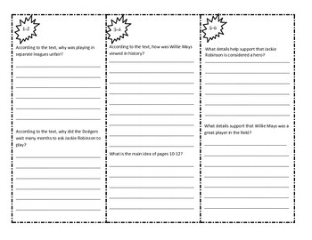 Asking and Answering Questions and Main Idea and Details Trifold: Baseball Heroe