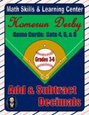 Baseball (Homerun Derby) Game Cards (Add & Subtract Decimals) Sets 4-5-6