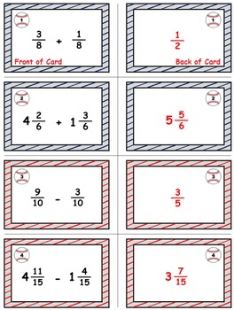 Baseball (Homerun Derby) Game Cards (Add & Subtract Like Fractions) Sets 4-5-6