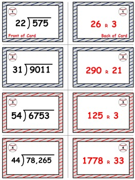 Baseball (Homerun Derby) Game Cards (Division with 2-Digit Divisors) Sets 4-5-6