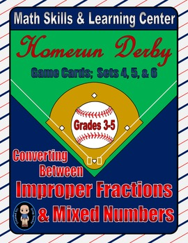 Baseball (Homerun Derby) Game Cards (Improper Fractions) Sets 4-5-6