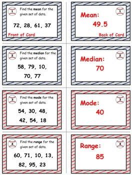 Baseball (Homerun Derby) Game Cards (Measures of Data) Sets 4-5-6
