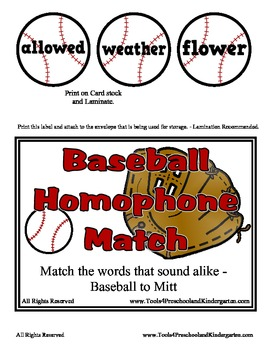 Baseball Homophone Match - Over 60 Sets of words - Sound Alike Words