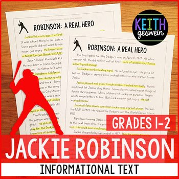 Baseball Informational Text:  Jackie Robinson (Grades 1-2)