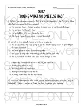 Baseball Informational Text:  Jackie Robinson (Grades 3-4)