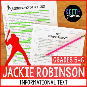 Baseball Informational Text:  Jackie Robinson (Grades 5-6)