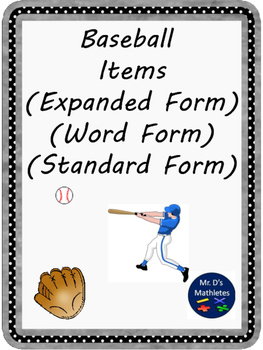 Baseball Items: Expanded, Word and Standard Form