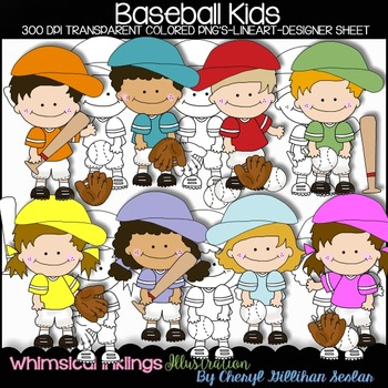 Baseball Kids Clipart Collection