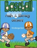 Baseball Kindergarten Literacy & Math Centers Common Core Aligned