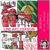 Baseball clip art - LINE ART- Melonheadz clipart