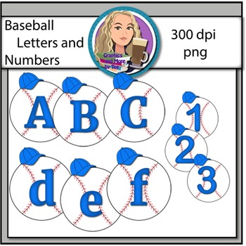 Baseball Letters and Numbers Clipart