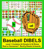 Baseball Literacy Centers: Play Catch!  Onset Rime DIBELS-Set 1