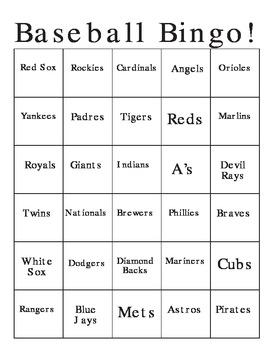 Baseball Logo Bingo