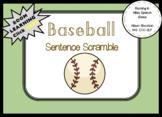 Baseball MLB Sentence Scramble (20 sentences, Worksheet)