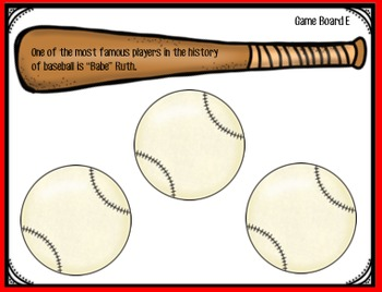 Baseball:  Main Idea and Details Game and Activities