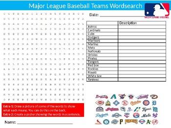 Baseball Major League Teams Wordsearch Puzzle Sheet Keywords Sport