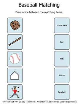 Baseball Matching Activity