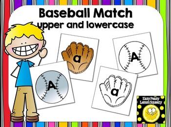 Baseball Matching Cards- upper and lowercase letters