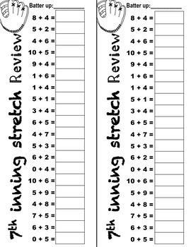 Baseball Math (Addition and Subtraction)