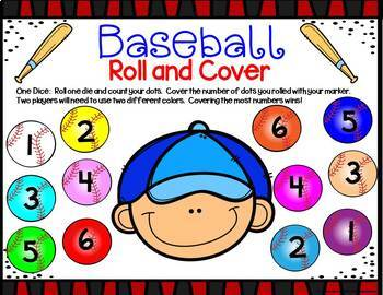 Baseball Math Center Dice Games