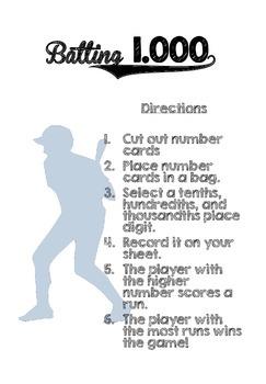 Baseball Math Centers - NO PREP (Grade 3-6)