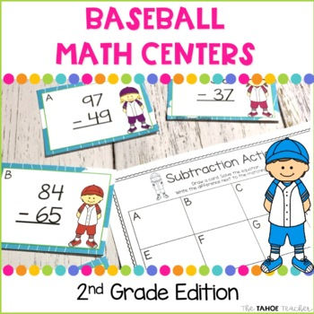 Baseball Math Centers for 2nd Grade