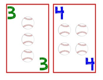 Baseball Math Number Playing Cards - Addition, Subtraction.....