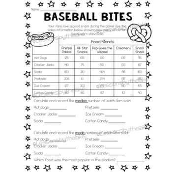Batter's Up! Baseball Math Project (mean, median, mode)