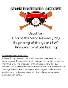 Baseball Math Review Competition