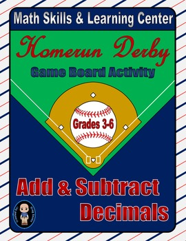 Baseball Math Skills & Learning Center (Add & Subtract Decimals)