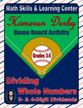 Baseball Math Skills & Learning Center (Division of 3-& 4-Digit Dividends)