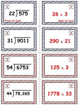 Baseball Math Skills & Learning Center (Division with 2-Digit Divisors)