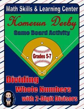 Baseball Math Skills & Learning Center (Division with 2-Di