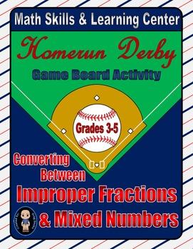 Baseball Math Skills & Learning Center (Improper Fractions