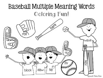 Baseball Multiple Meaning Words Coloring ⚾